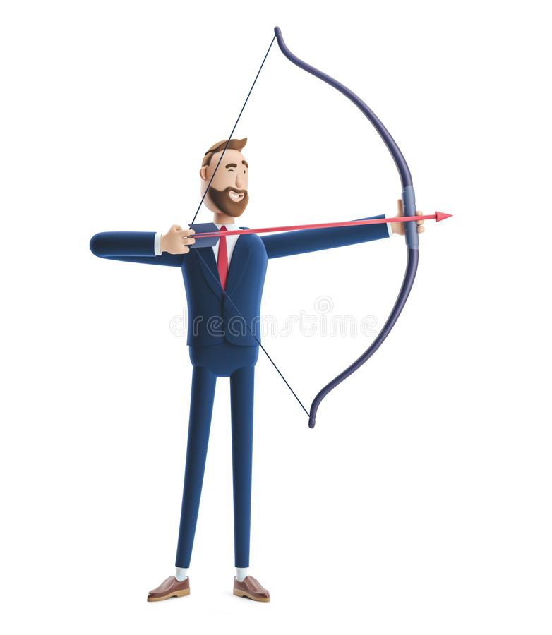Free 3d Illustration. Handsome Beard Businessman Billy Aiming With Bow And Arrow Royalty Free Stock Images - 145952469