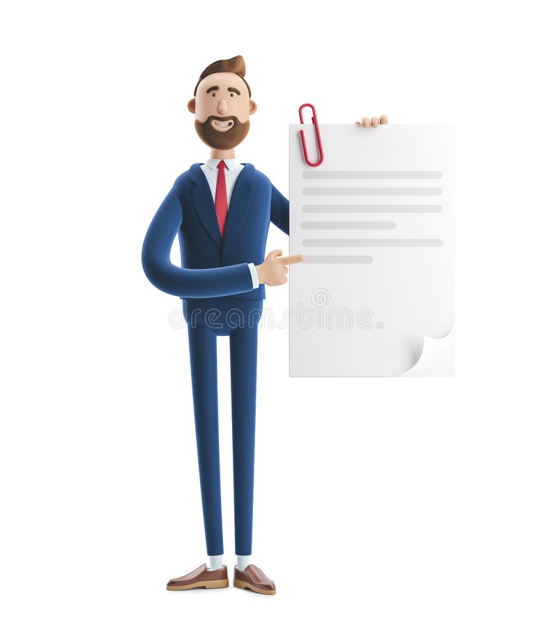 Free 3d Illustration. Handsome Businessman Billy Holds A Completed Document. Royalty Free Stock Images - 145955709