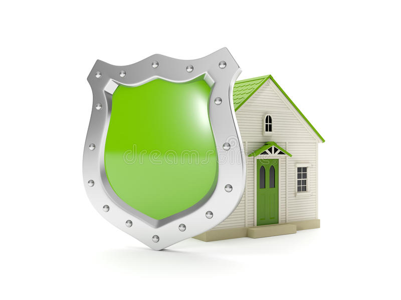 3d illustration home shield stock illustration illustration of