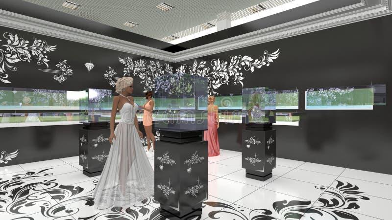 3D illustration of jewelry salon stock illustration