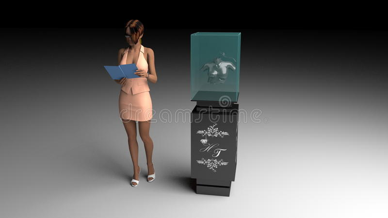 3D illustration of jewelry salon royalty free illustration