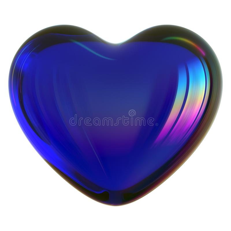Free 3d Illustration Of Blue Heart Shape Love Symbol Glass Translucent Stock Image - 152548011
