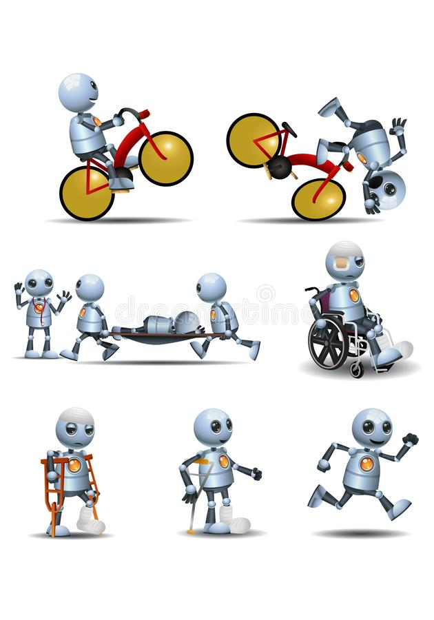 Free 3d Illustration Of  Little Robot Bike Accident Recovery Royalty Free Stock Photos - 164893008