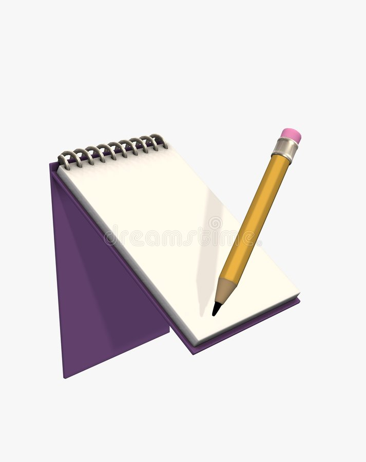 Download 3d Illustration Pad And Pencil Royalty Free Stock Photos - Image: 7994508