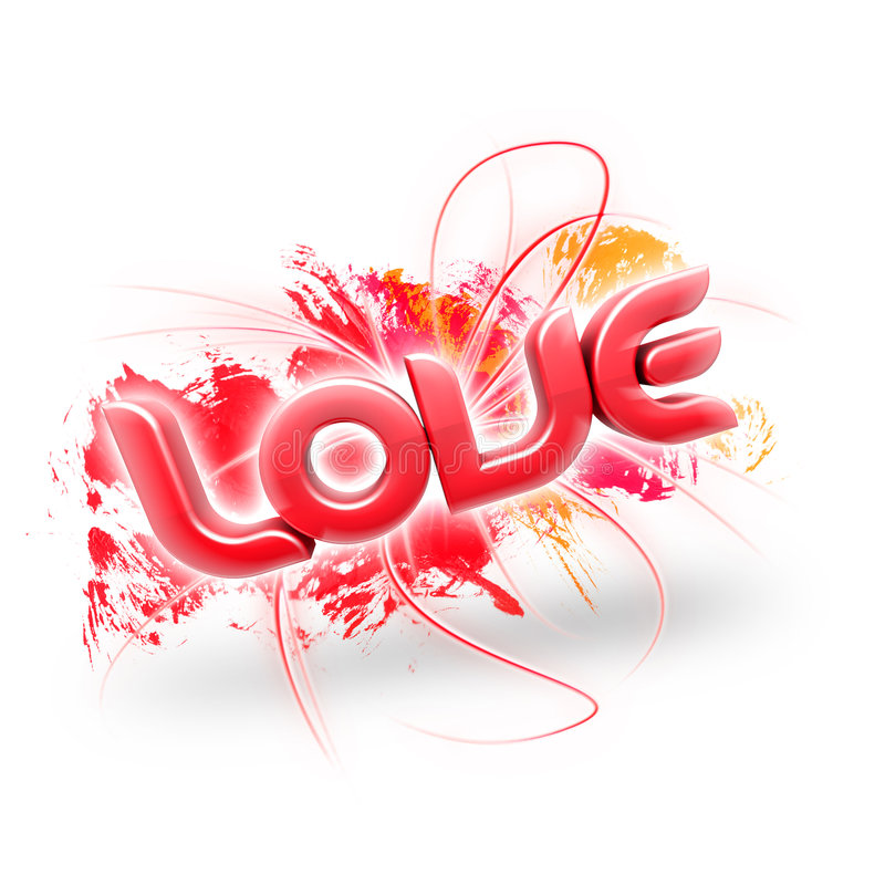 3D illustration of the word Love Red 2. 3D illustration of the word Love over a white background royalty free illustration