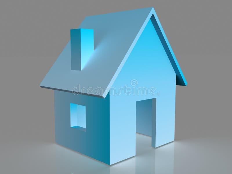 3d ilustrujący błękit dom royalty ilustracja