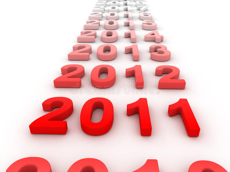 3D Image Of 2011 Isolated (Red) Stock Images