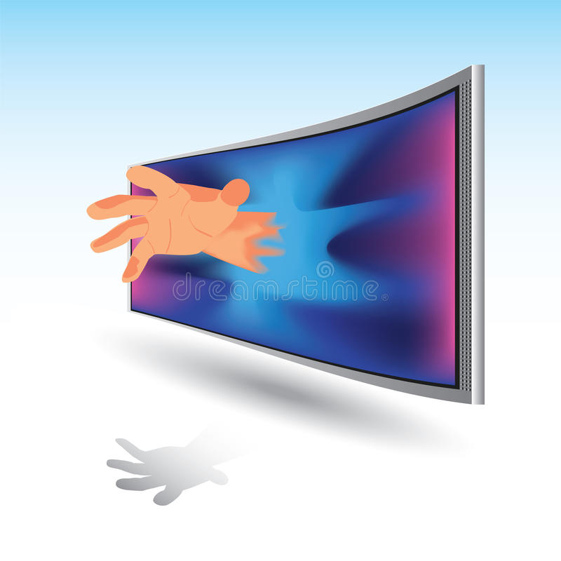 3D image, TV. Hand of the TV, the Mirage vector illustration