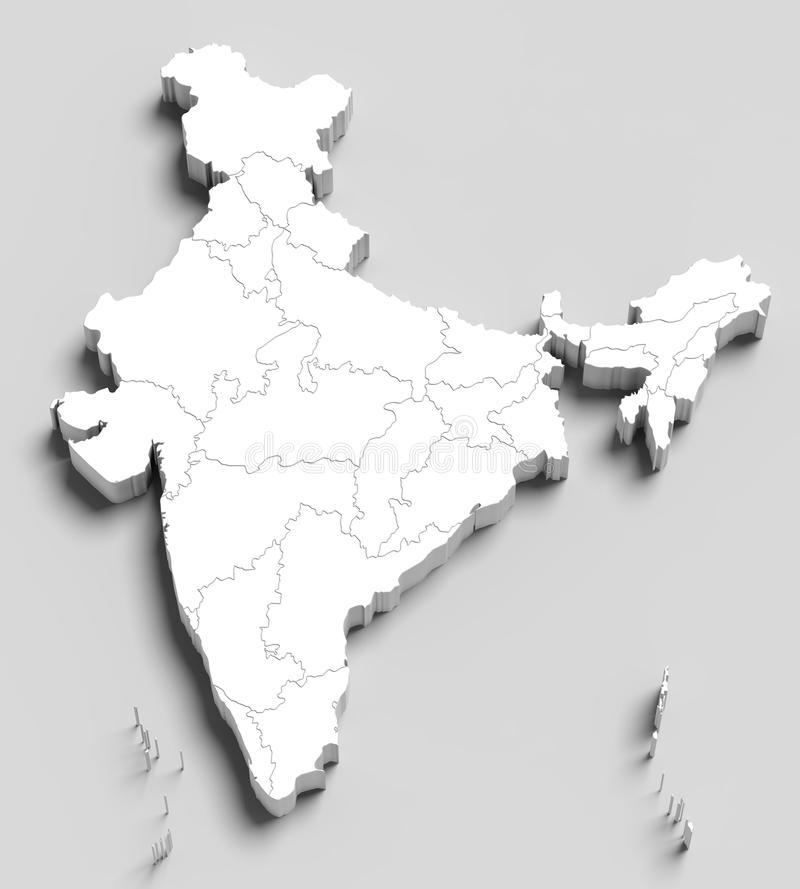 3d India white map on grey royalty free illustration