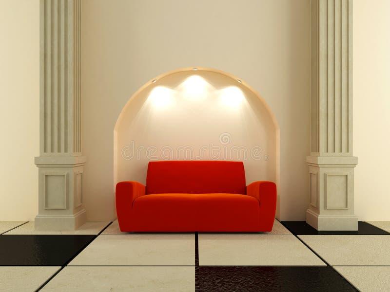 3D Innenraum - rotes Sofa unter dem Lichtbogen stock abbildung