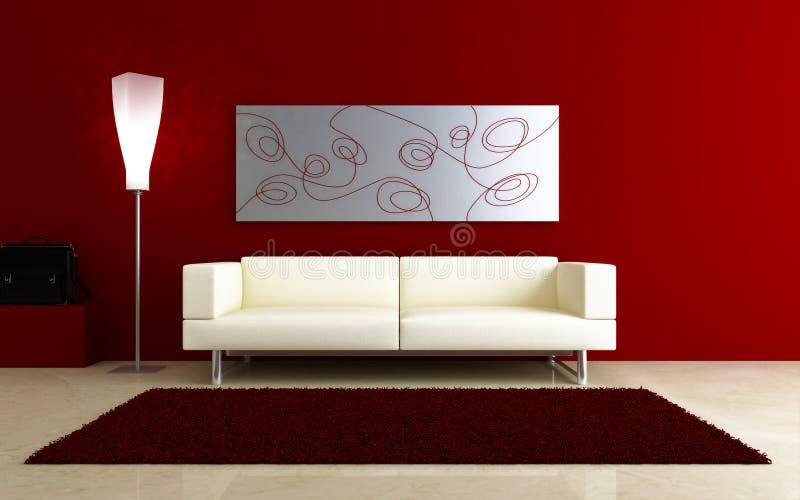 3d Innenraum - weiße Couch im roten Raum stock abbildung