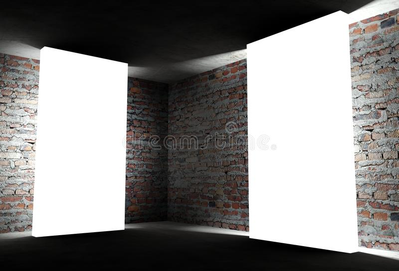 3d Interior Corner With White Empty Frames Stock Photo