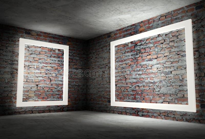 3d interior corner with white empty frames