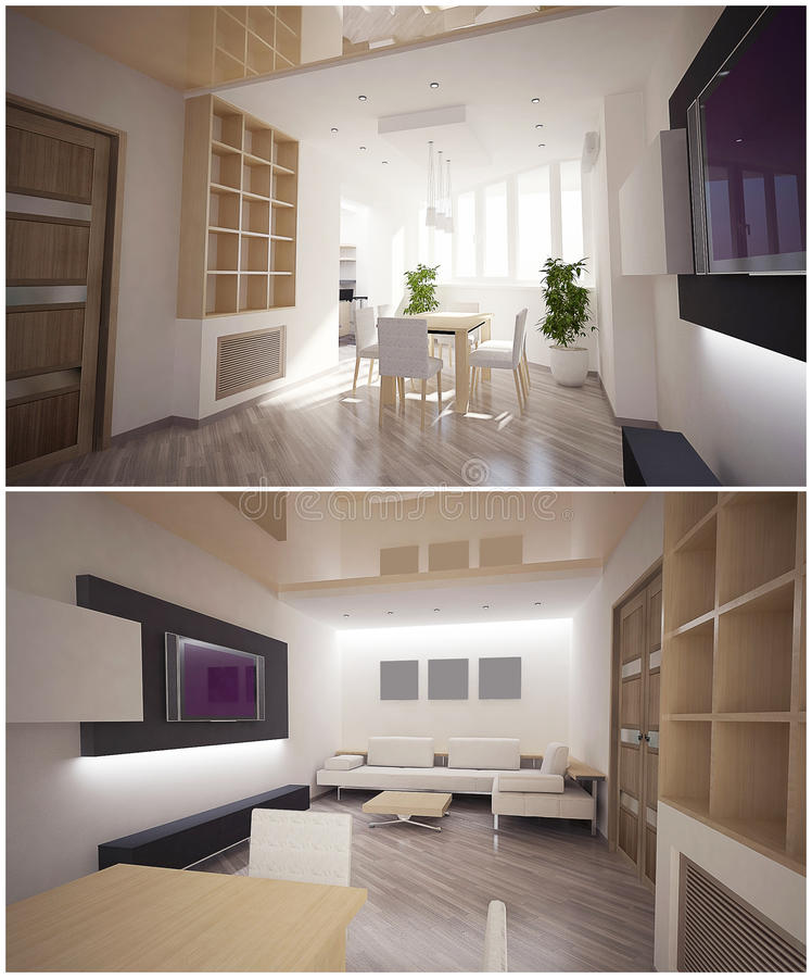 3d interior of the living room