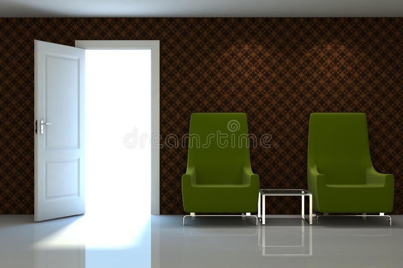 3d Interior Scene Of A  Couch On Brow Classic Wall Stock Photos