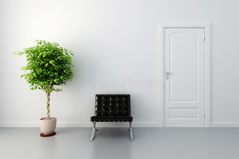 Download 3d Interior With White Door And Walls Stock Illustration - Illustration: 18649498