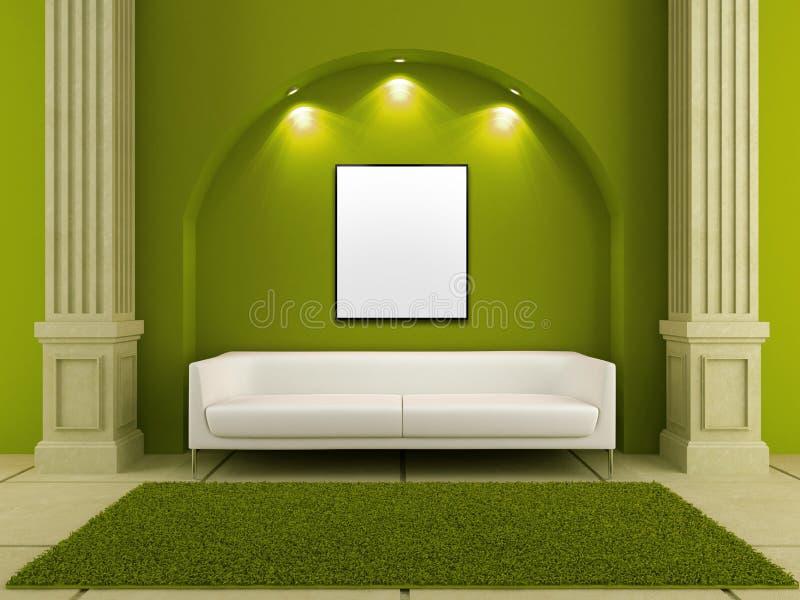 3d interiores - sofá branco no quarto verde ilustração stock