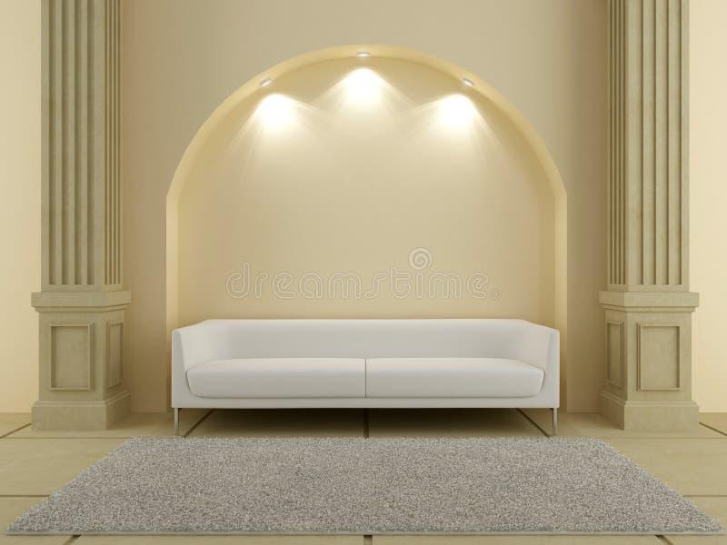 3D interiores - sofá vermelho sob o arco ilustração stock