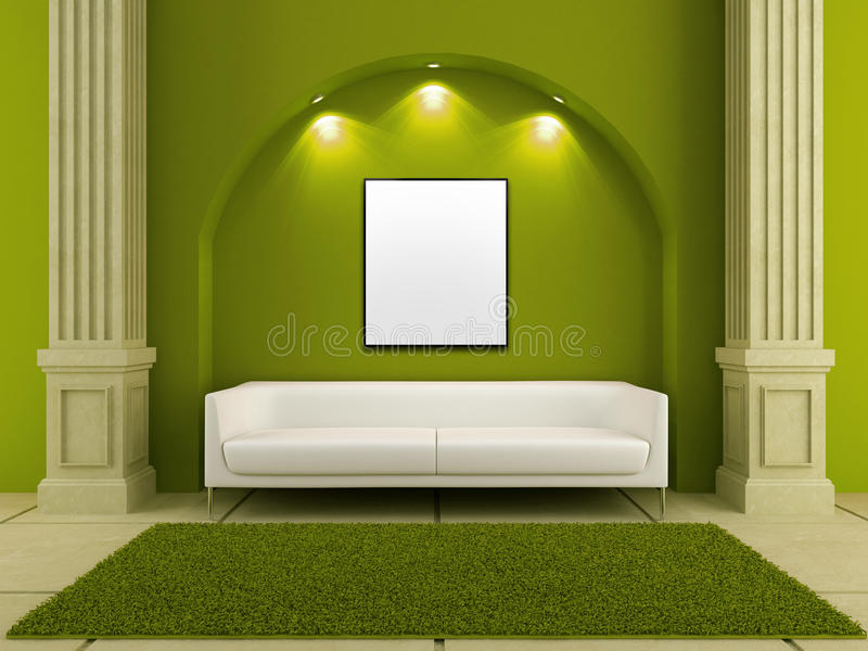 3d interiori - strato bianco nella stanza verde illustrazione di stock