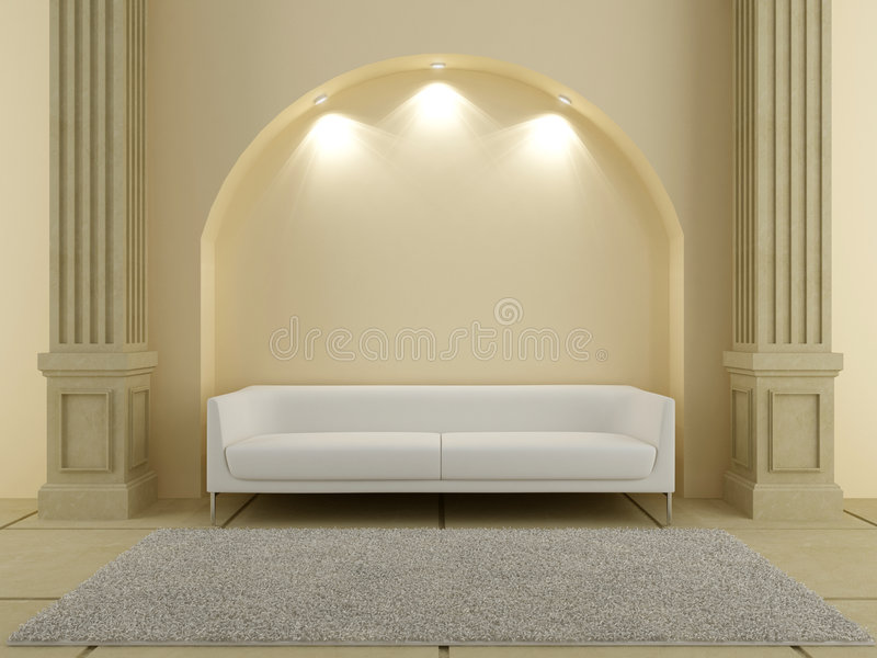 3D Interiors - Red sofa under the arc stock illustration