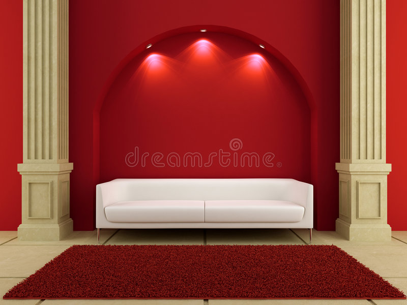 3d interiors - White couch in red room royalty free illustration