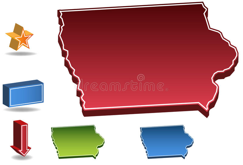 3D Iowa vector illustratie