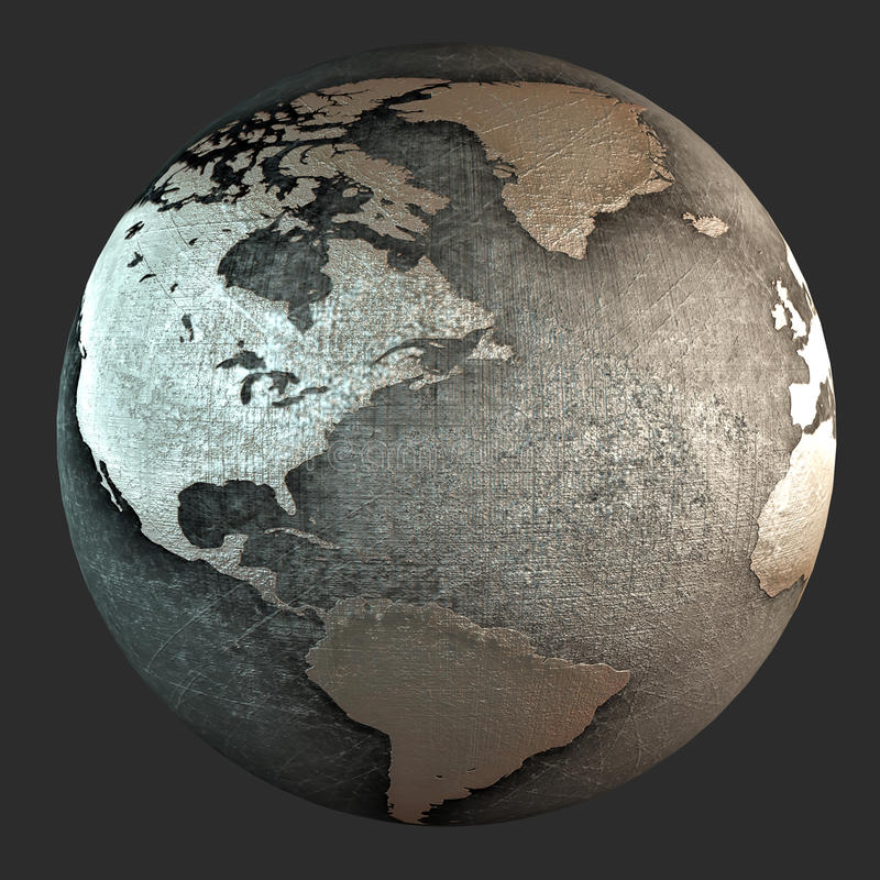 3D iron earth royalty free stock photo