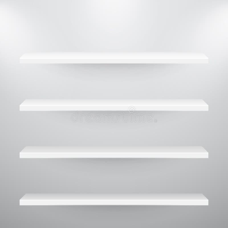 3d isolados esvaziam prateleiras para a exibição ilustração stock