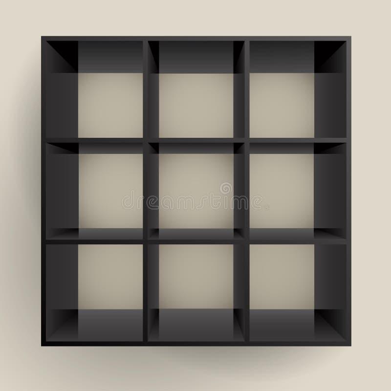 Download 3d Isolated Empty Black Bookshelf Stock Vector - Image: 19145295