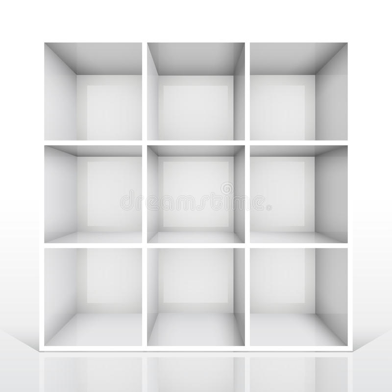 3d isolated Empty white bookshelf vector illustration