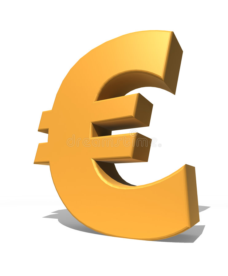 3d Isolated Gold Euro Symbol Stock Illustration Illustration Of
