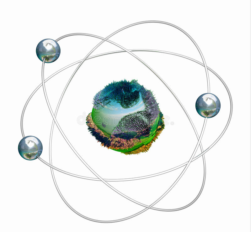 3D isolated green atomic structure royalty free illustration