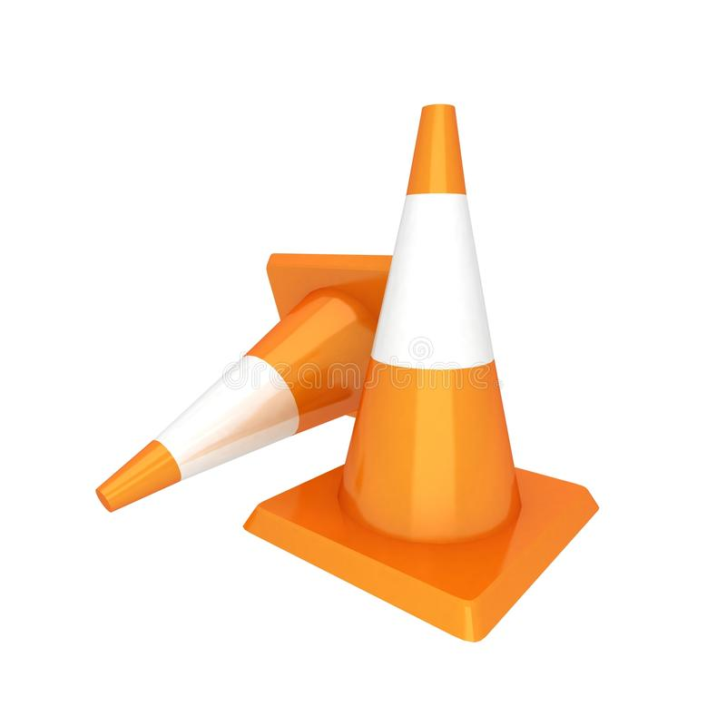 3d isolated traffic cones. High quality render of two 3d isolated traffic cones