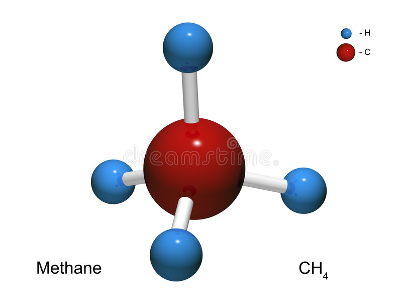 3d isolerad metangasmodellmolekyl stock illustrationer