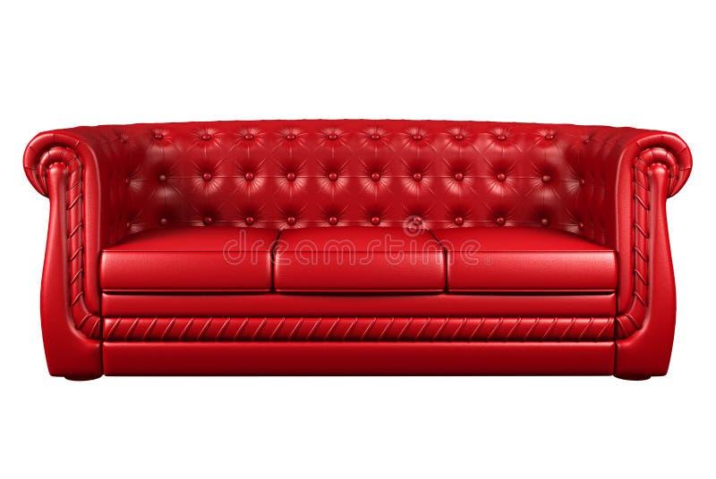3d isolerat läder över röd sofawhite arkivfoto