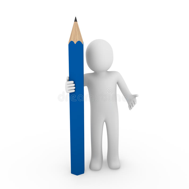 3d istota ludzka błękitny ołówek royalty ilustracja