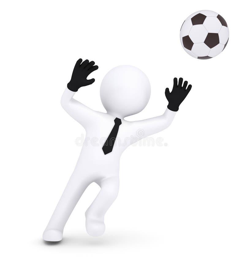 3d istota ludzka z rękawiczka bramkarzem łapie futbol ilustracja wektor