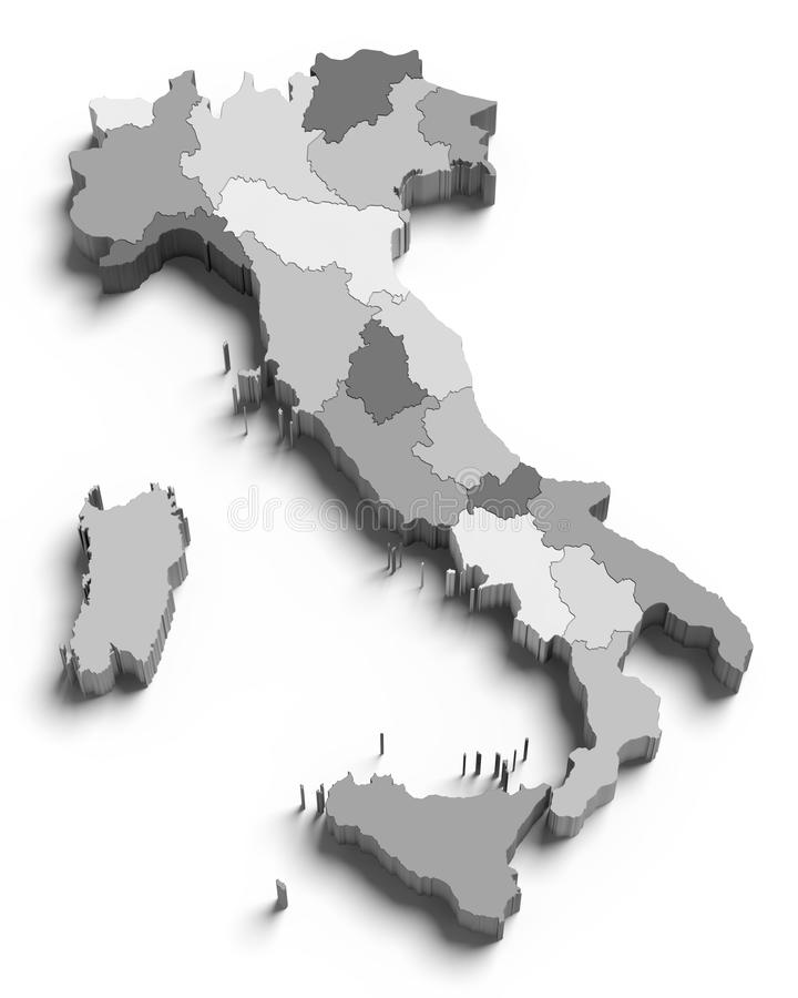 Download 3d Italy grey map on white stock illustration. Illustration of geography - 24187459