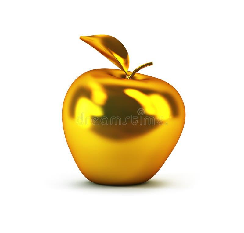 3d jabłko złoty ilustracja wektor