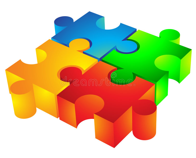 3d jigsaw pieces. Jigsaw puzzle: 3d icon isolated on white vector illustration