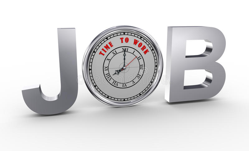 3d job - time to work clock stock illustration