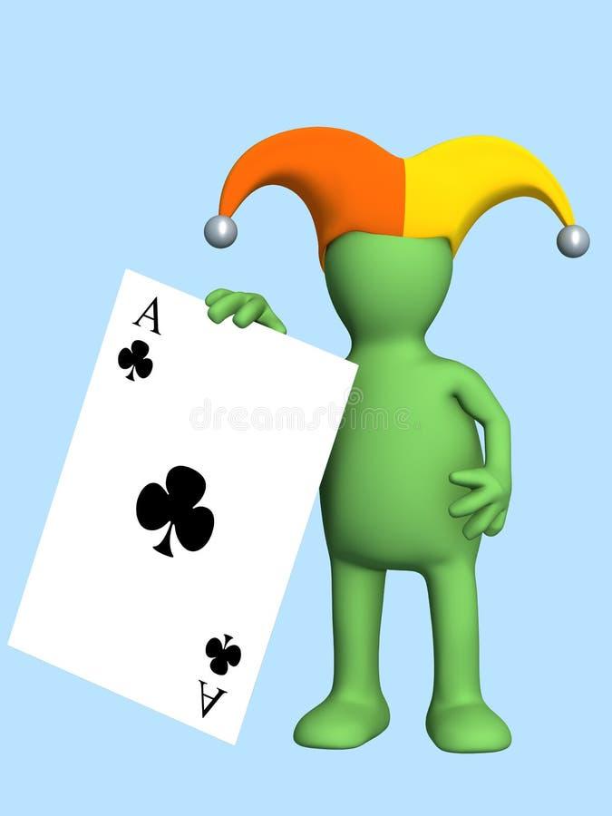 3d joker, die in een hand van een zwarte aas houdt stock illustratie