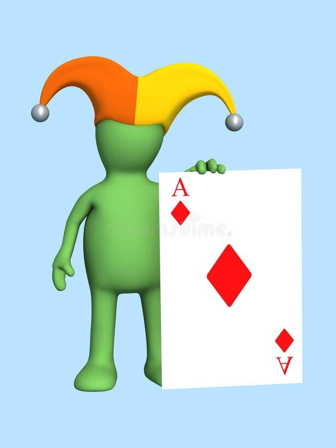 3d joker - marionet, die in een hand van een rode aas houdt stock illustratie