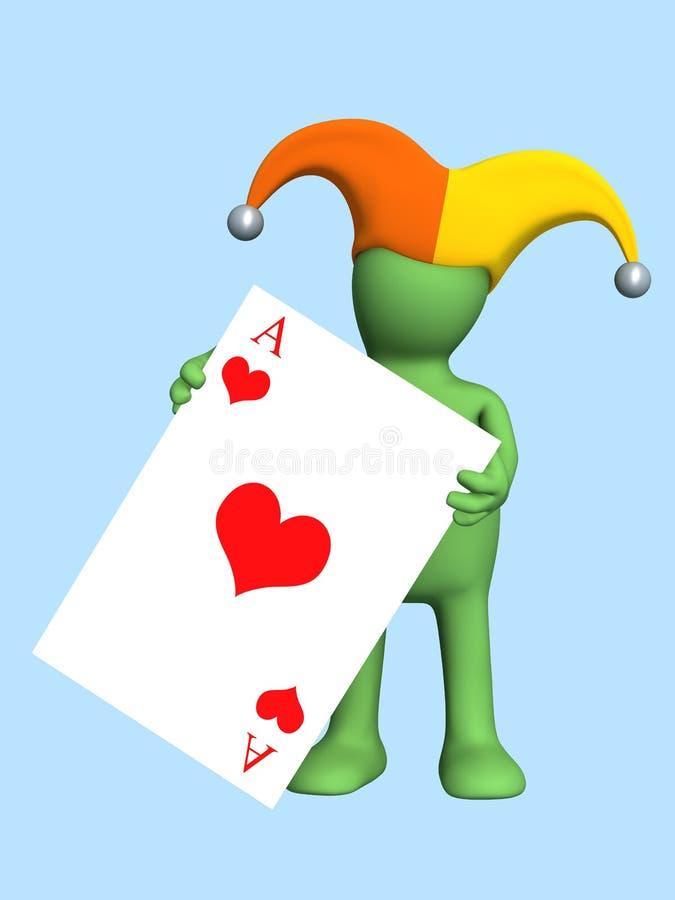 3d joker - marionet, die in een hand van een rode aas houdt vector illustratie