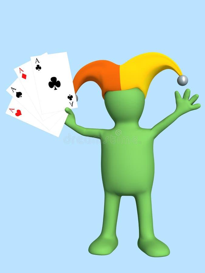3d joker - marionet, die in een hand vier azen houdt royalty-vrije illustratie