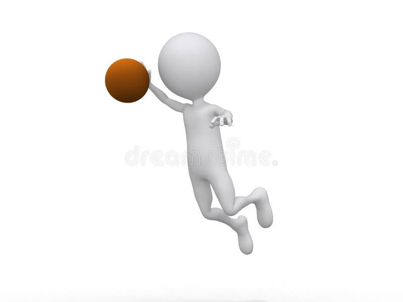 3D jouant au basket-ball effectuant trempent illustration de vecteur