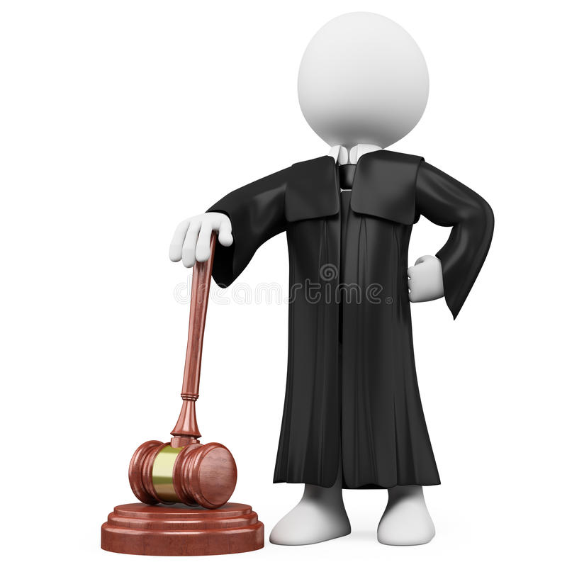 3D judge with robe and hammer. Rendered at high resolution on a white background with diffuse shadows royalty free illustration