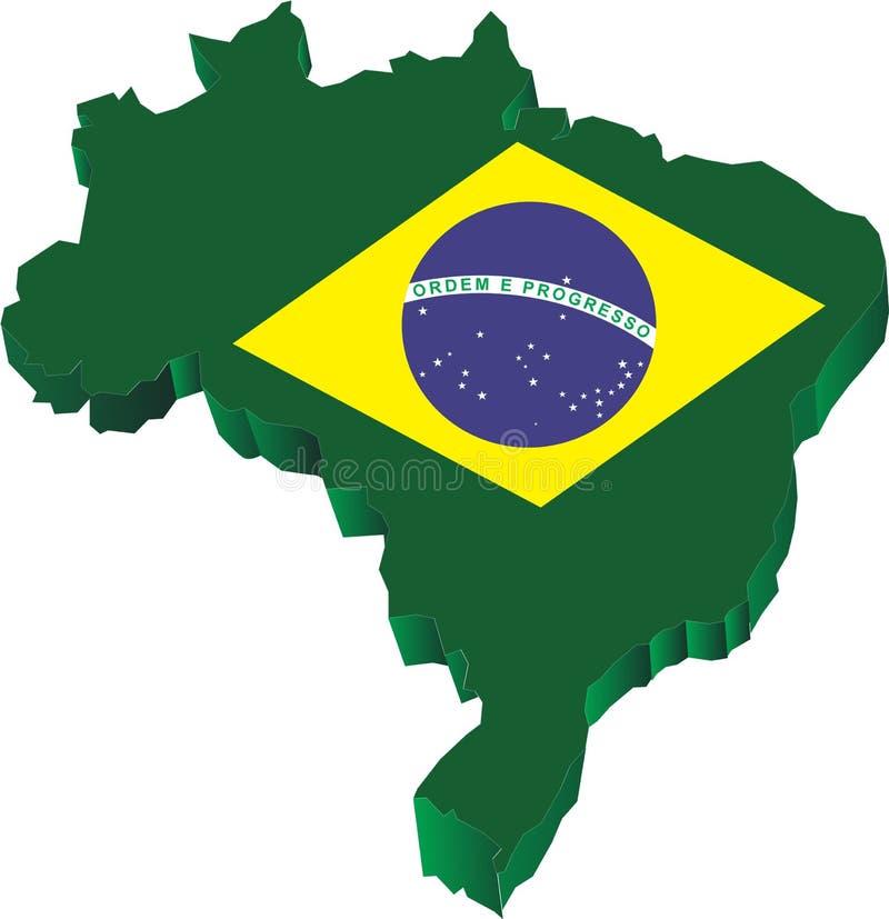 3d Kaart van Brazilië stock illustratie