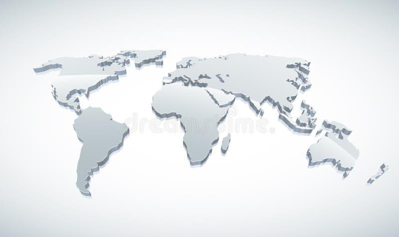 3d Kaart van de Wereld royalty-vrije illustratie
