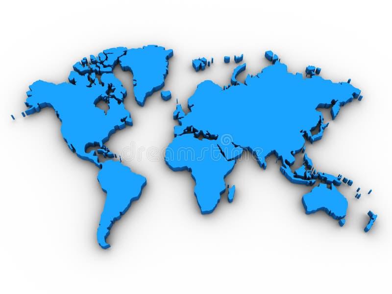 3D Kaart van de Wereld stock illustratie